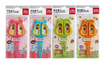 Ножницы Deli 6061 Happy Cat детские 138мм ТПЭ сталь ассорти