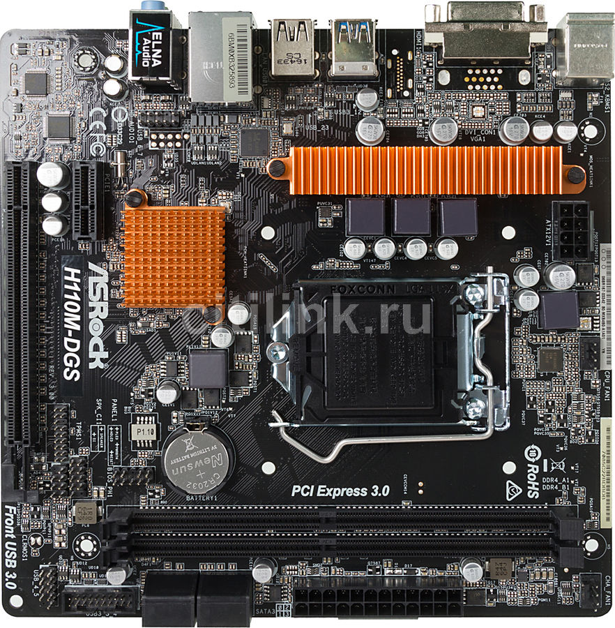 Материнская плата ASROCK H110M-DGS R3.0, LGA 1151, Intel H110, mATX, Ret injection mold 100