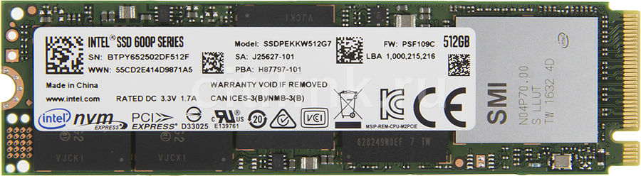 SSD накопитель INTEL 600p Series SSDPEKKW512G7X1 512Гб, M.2 2280 (Single Sided), PCI-E x4, NVMe ssd накопитель intel 540s series ssdsckkw240h6x1 240гб m 2 2280 sata iii