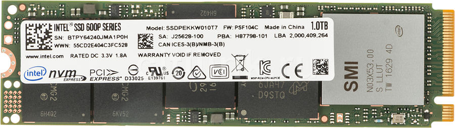SSD накопитель INTEL 600p Series SSDPEKKW010T7X1 1Тб, M.2 2280 (Single Sided), PCI-E x4, NVMe ssd накопитель intel 540s series ssdsckkw240h6x1 240гб m 2 2280 sata iii