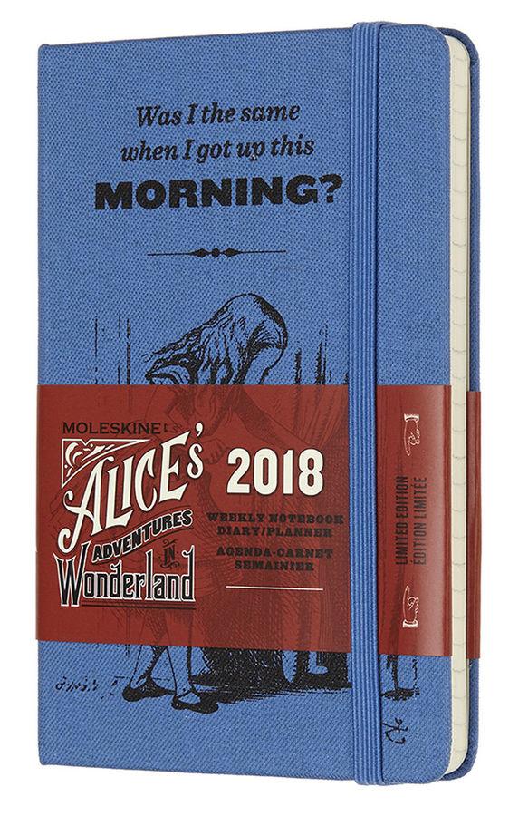 Еженедельник MOLESKINE ALICE IN WONDERLAND WKNT POCKET LE,  144стр.,  текстиль,  синий