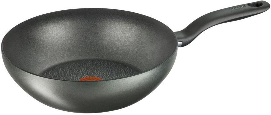 Сковорода ВОК (WOK) TEFAL Hard Titanium+ C6921902, 28см, без крышки,  черный [2100096664]