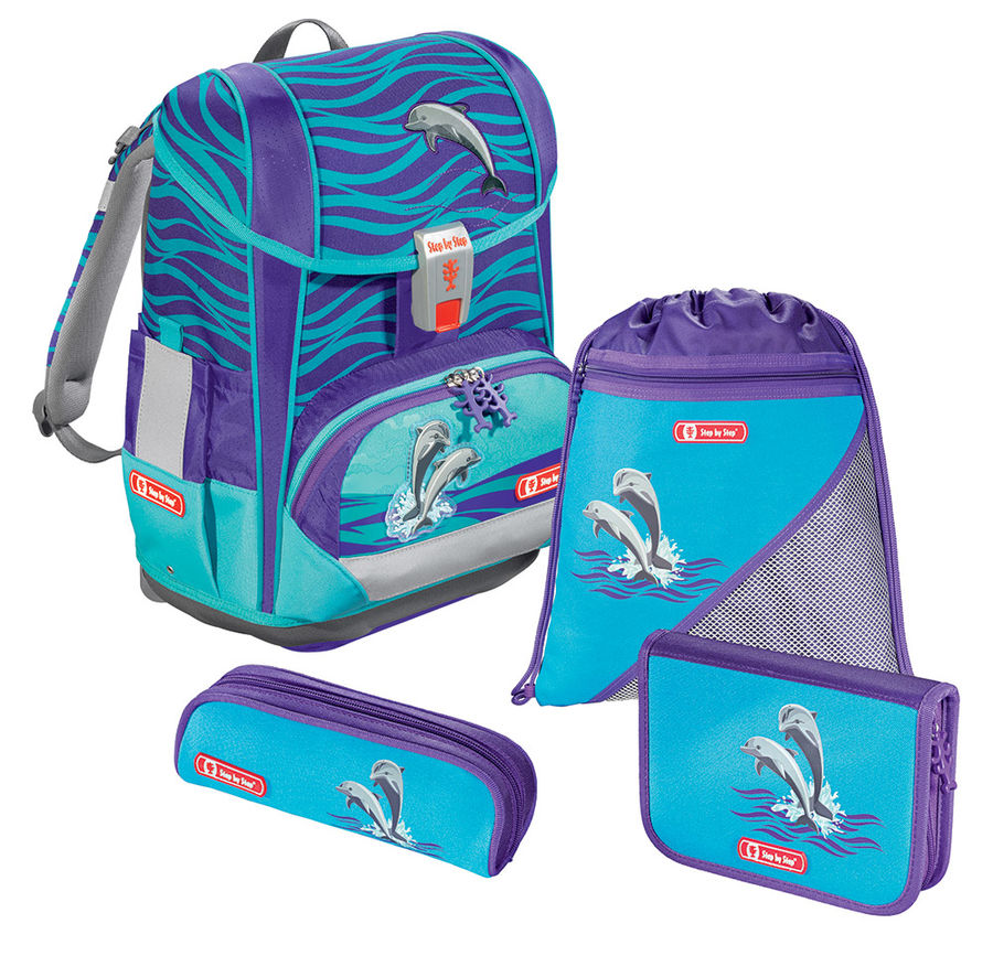 Ранец Step By Step Light2 Happy Dolphins голубой 4 предмета