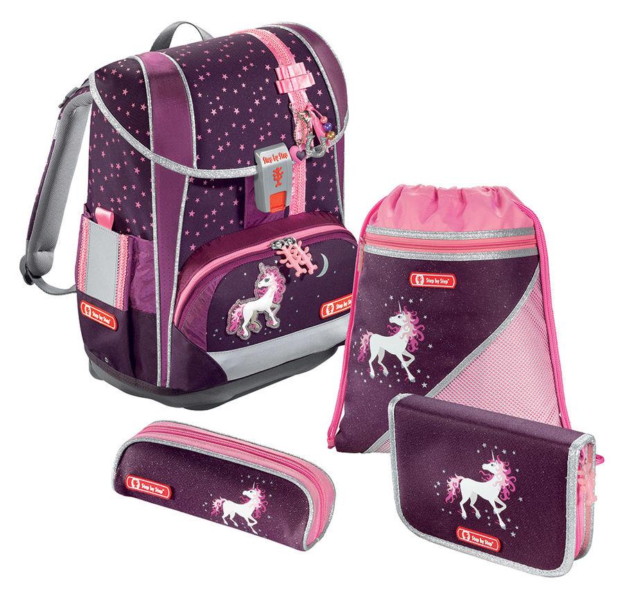 Ранец Step By Step Light2 Unicorn бордовый/розовый 4 предмета
