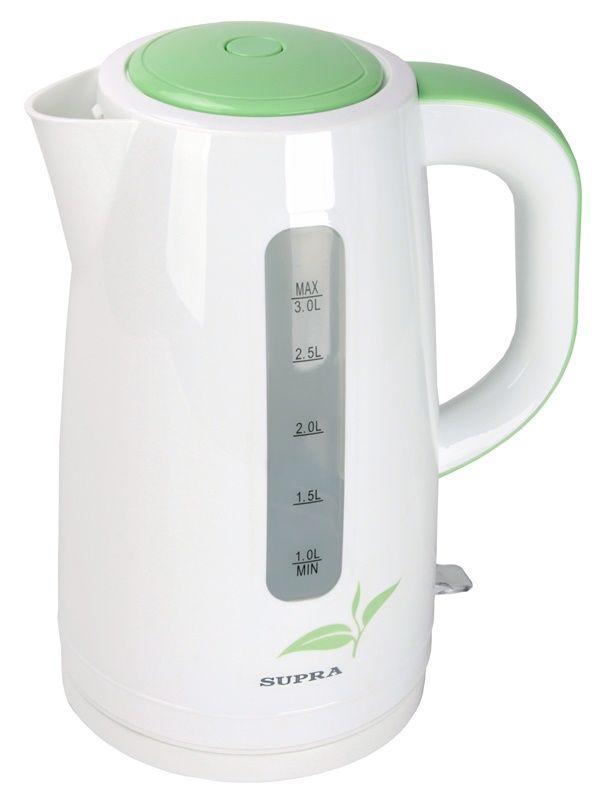 Чайник электрический SUPRA KES-3012, 2200Вт, белый и зеленый
