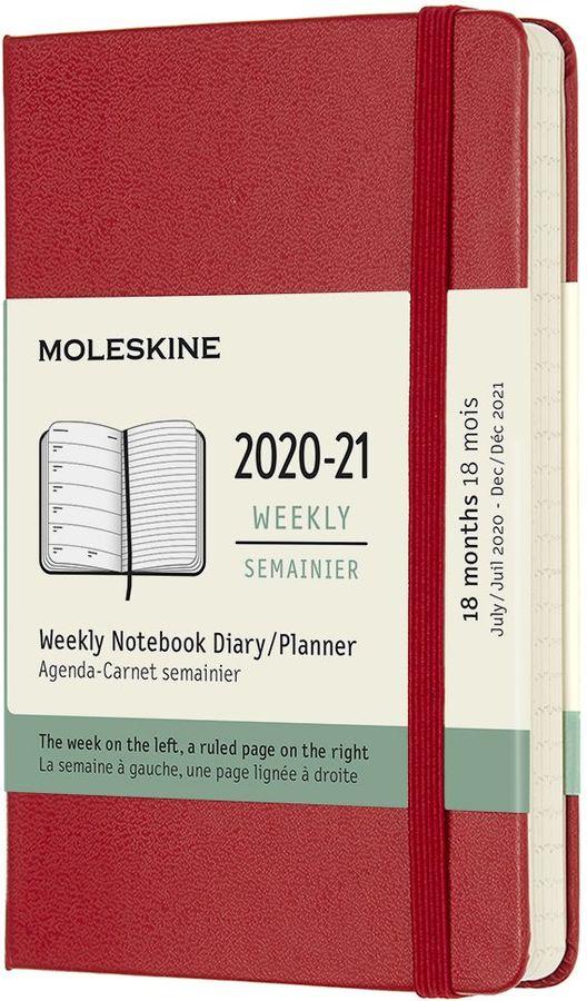 Еженедельник MOLESKINE Academic WKNT,  датированный на 18 месяцев,  208стр.,  красный [dhf218wn2]