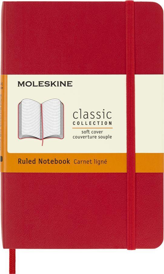 Блокнот Moleskine CLASSIC SOFT Pocket 90x140мм 192стр. линейка мягкая обложка красный