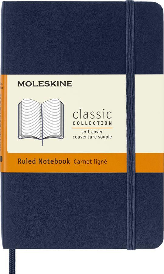 Блокнот Moleskine CLASSIC SOFT 90x140мм 192стр. линейка мягкая обложка фиксирующая резинка синий сап [qp611b20]
