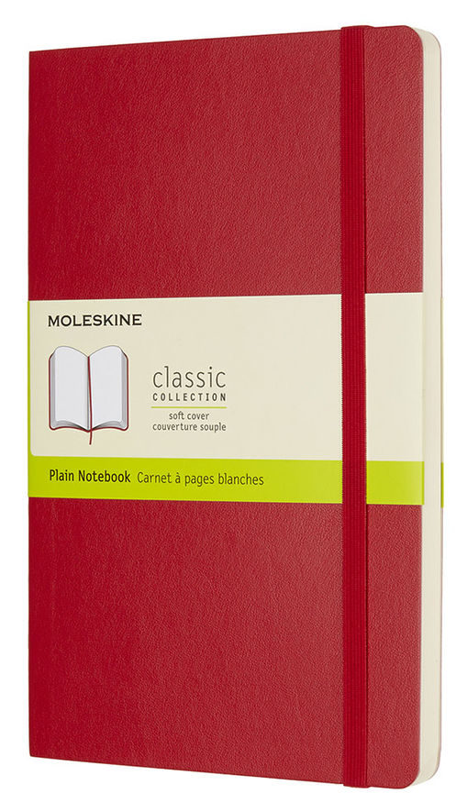 Блокнот Moleskine CLASSIC SOFT 130х210мм 192стр. нелинованный мягкая обложка фиксирующая резинка кра [qp618f2]