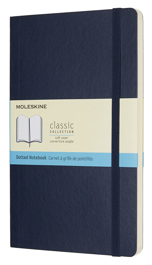 Блокнот Moleskine CLASSIC SOFT 130х210мм 192стр. пунктир мягкая обложка фиксирующая резинка синий са [qp619b20]