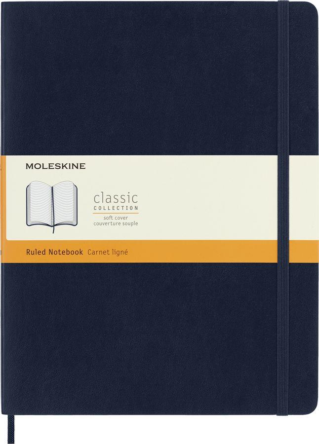 Блокнот Moleskine CLASSIC SOFT 190х250мм 192стр. линейка мягкая обложка фиксирующая резинка синий са [qp621b20]