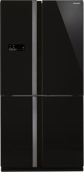 Холодильник SHARP SJ-FJ97VBK,  трехкамерный, черный/стекло