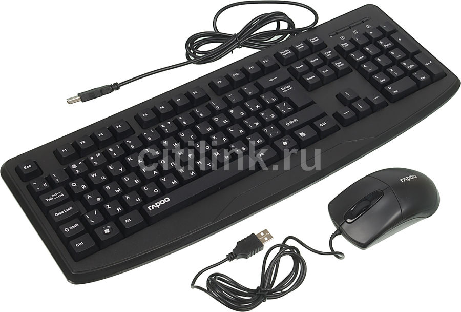 Комплект (клавиатура+мышь) RAPOO NX1720, USB, проводной, черный