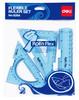 Набор линеек Deli E6204 пластик голубой/прозрачный компл.:лин.15см./треуг.2шт