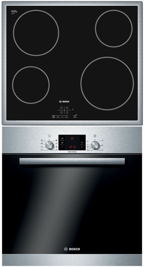 Встраиваемый комплект Bosch HBA23S150R + PKE645B17 нержавеющая сталь/черный