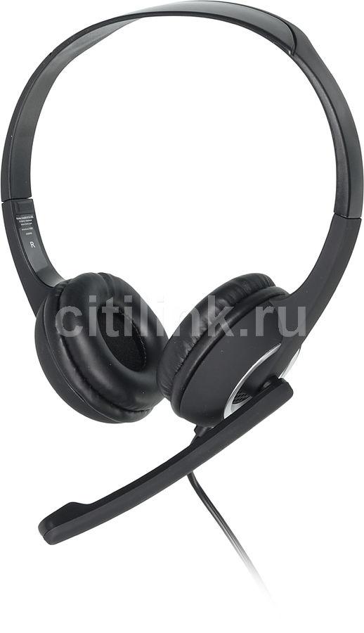 Гарнитура HAMA Essential HS 300,  для контактных центров, мониторы,  черный  / серебристый [00053982]
