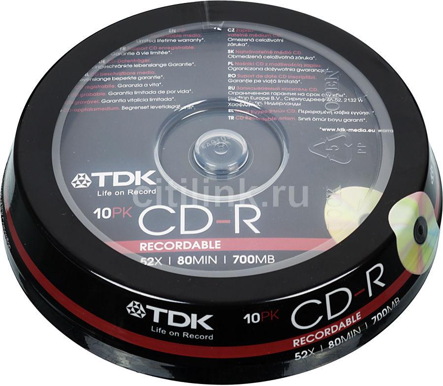Оптический диск CD-R TDK 700Мб 52x, 10шт., cake box