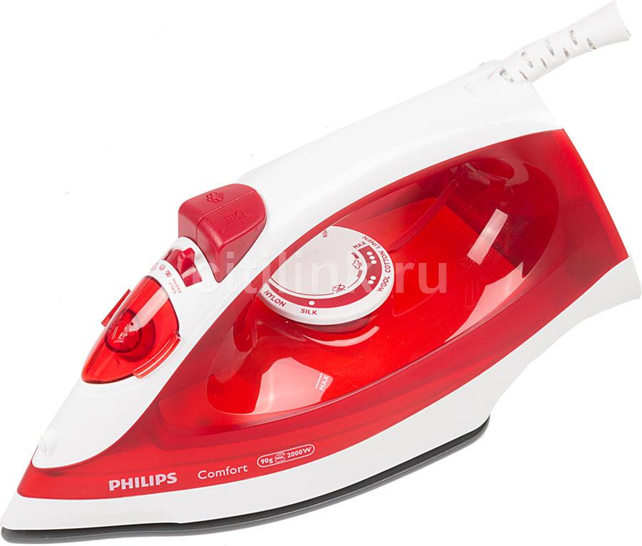 Утюг PHILIPS GC1433/40,  2000Вт,  красный/ белый