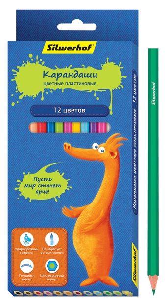 Карандаши цветные Silwerhof 134201-12 Джинсовая коллекция шестигран. пластик 2.8мм 12цв. коробка/евр