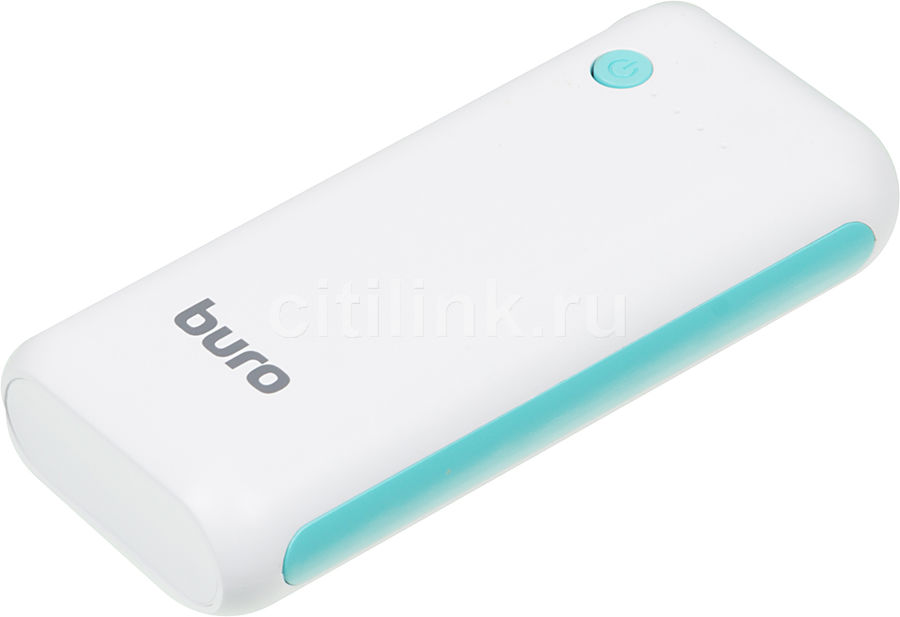 Внешний аккумулятор (Power Bank) BURO RC-5000WB,  5000мAч,  белый/голубой