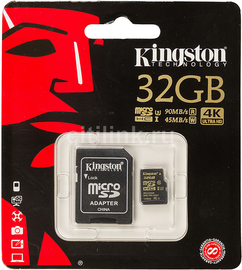 Карта памяти microSDHC UHS-I U3 KINGSTON 32 ГБ, 90 МБ/с, Class 10, SDCG/32GB,  1 шт., переходник SD