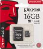 Карта памяти microSDHC UHS-I U1 KINGSTON 16 ГБ, 90 МБ/с, Class 10, SDCIT/16GB,  1 шт., переходник SD вид 1