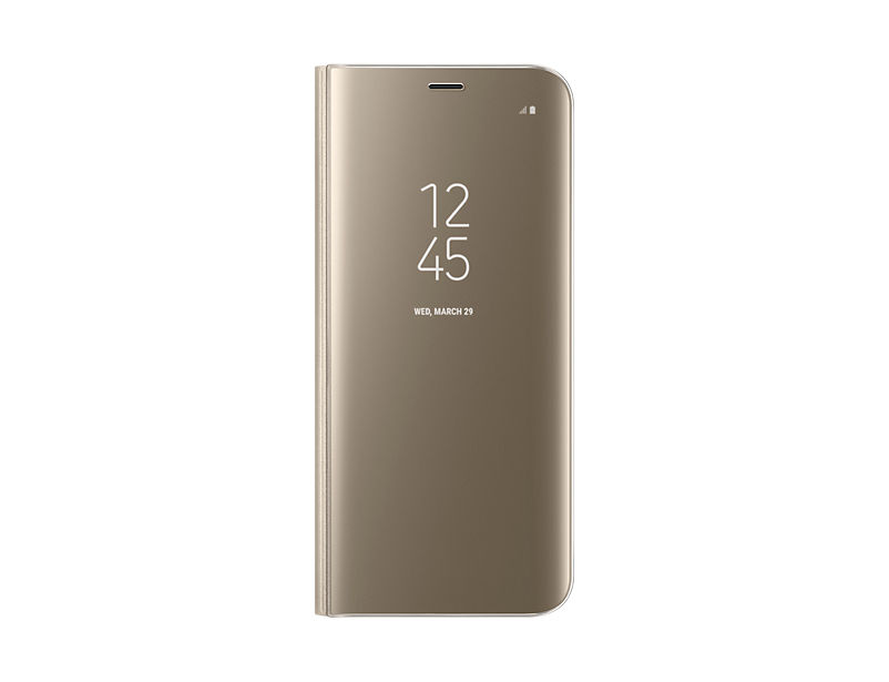 Чехол (флип-кейс) SAMSUNG Clear View Standing Cover, для Samsung Galaxy S8+, золотистый [ef-zg955cfegru]