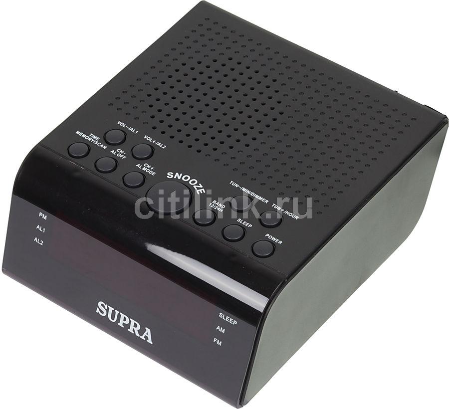 Радиобудильник SUPRA SA-44FM, красная подсветка,  черный