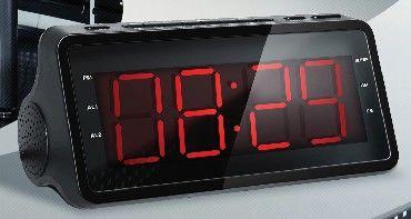 Радиобудильник SUPRA SA-46FM, красная подсветка,  черный