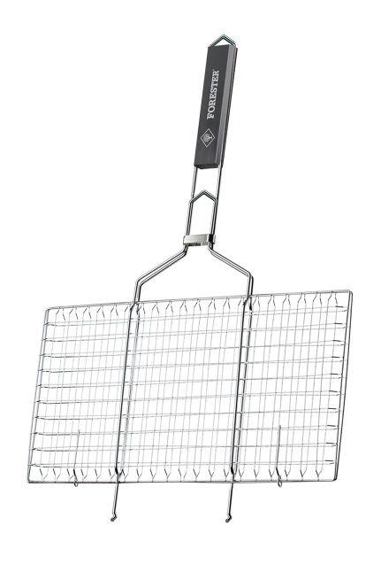 Решетка-гриль для барбекю Forester BQ-S02 для стейков большая прямоугольная 22х42см