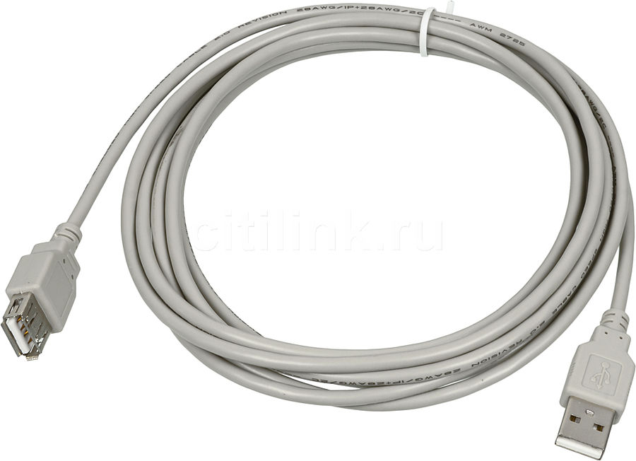 Кабель USB2.0  USB A(m) -  USB A(f),  3м,  серый