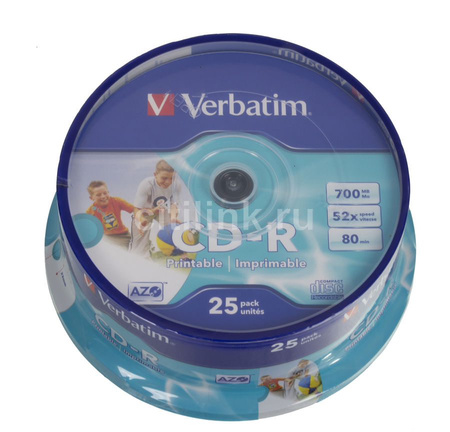 Оптический диск CD-R VERBATIM 700Мб 52x, 25шт., cake box, printable [43439] dvd r vs 4 7gb 16х 10шт cake box