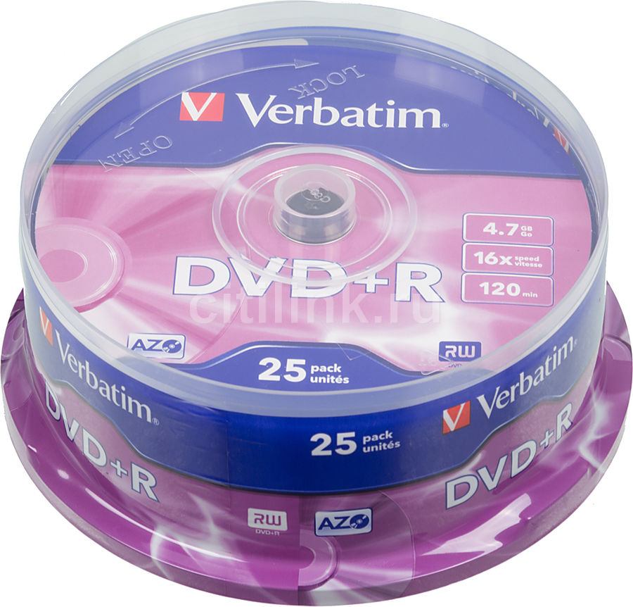 Оптический диск DVD+R VERBATIM 4.7Гб 16x, 25шт., cake box [43500]