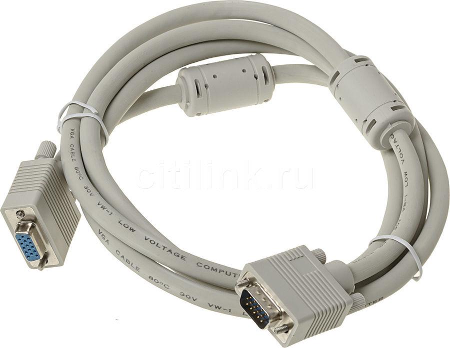 Кабель-удлинитель VGA  VGA HD15 (m) -  VGA HD15 (f),  ферритовый фильтр ,  1.8м,  серый