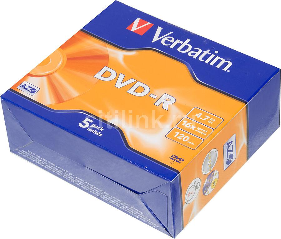 Оптический диск DVD-R VERBATIM 4.7Гб 16x, 5шт., jewel case [43519]