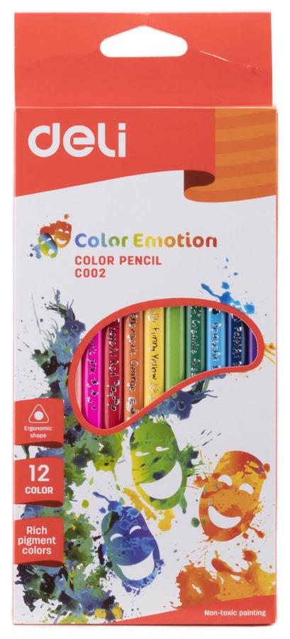 Карандаши цветные Deli Color Emotion EC00200 трехгран. липа 12цв. коробка/европод.