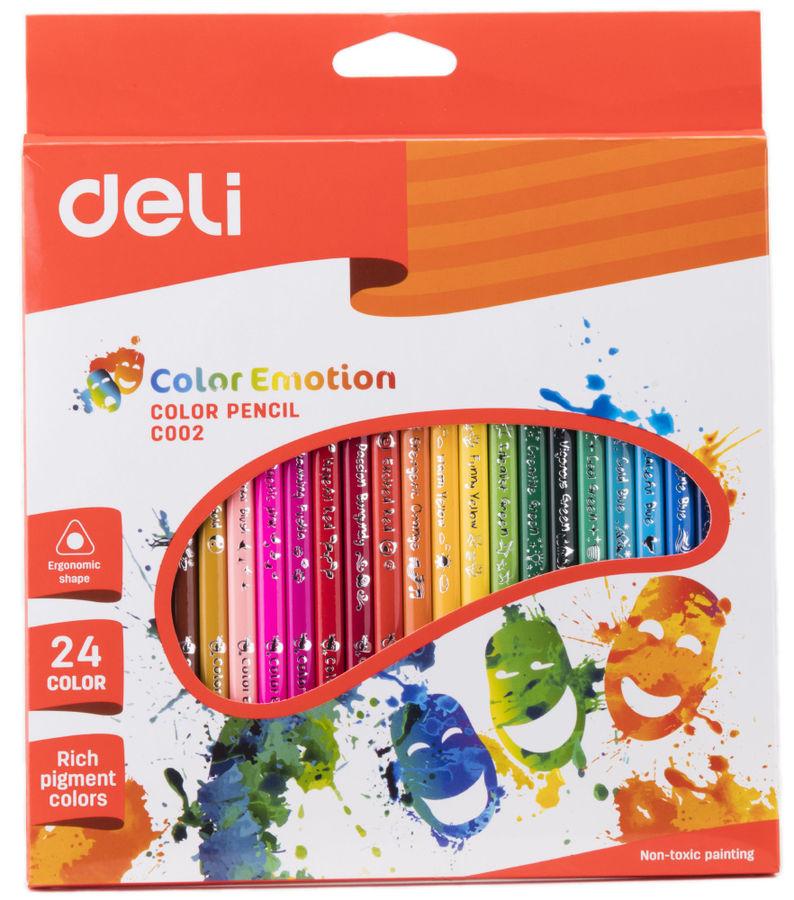 Карандаши цветные Deli Color Emotion EC00220 трехгран. липа 24цв. коробка/европод.