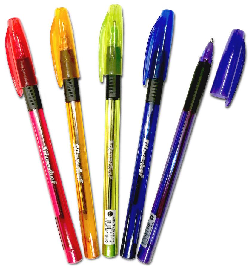 Ручка шариковая Silwerhof SLIDE BRIGHT (026153-02) 1.0мм треугол. резиновая манжета черн.на масл.осн
