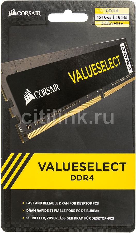 Модуль памяти CORSAIR Value Select CMV16GX4M1A2400C16 DDR4 -  16Гб 2400, DIMM,  Ret