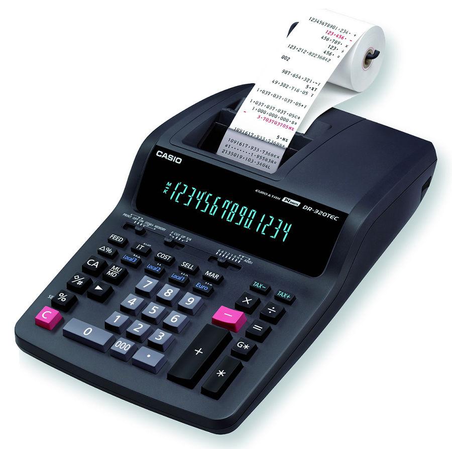 Калькулятор CASIO DR-320TEC,  14-разрядный, серый