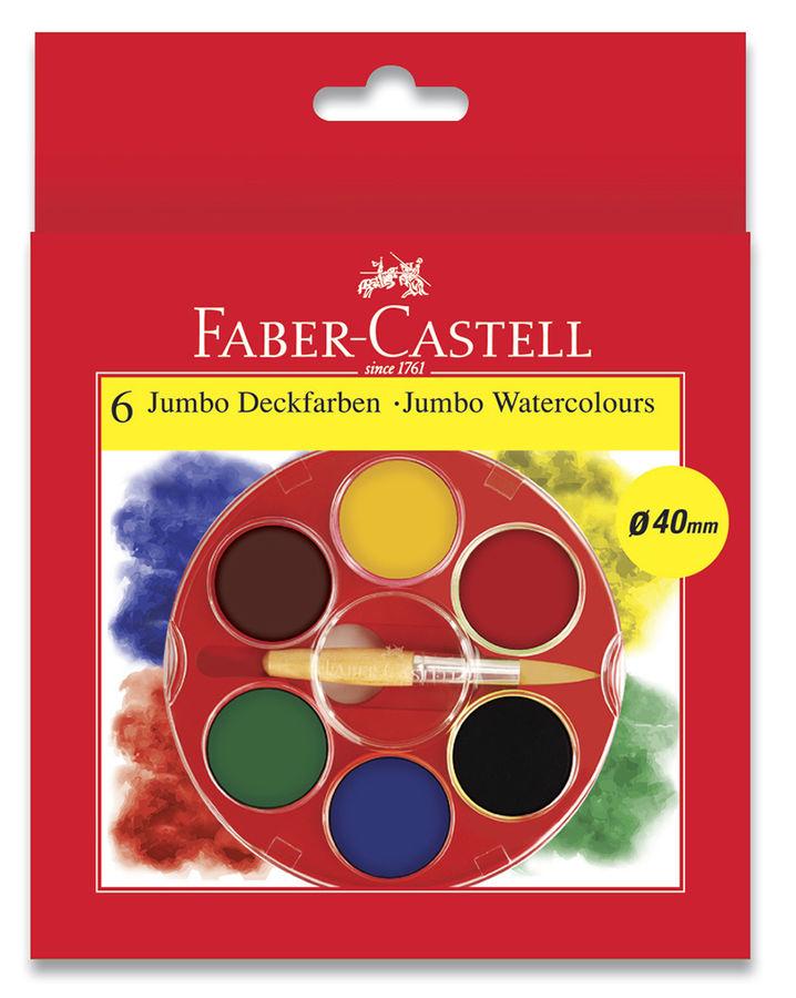 Краски акварельные Faber-Castell JUMBO 125007 6цв. 40мм кисть