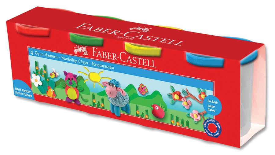 Масса для лепки Faber-Castell 120048 4цв. 520гр. картон.кор.