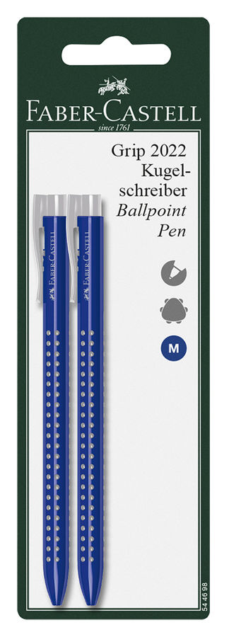 Ручка шариковая Faber-Castell GRIP 2022 (544698) корпус пластик синие чернила блистер (2шт)