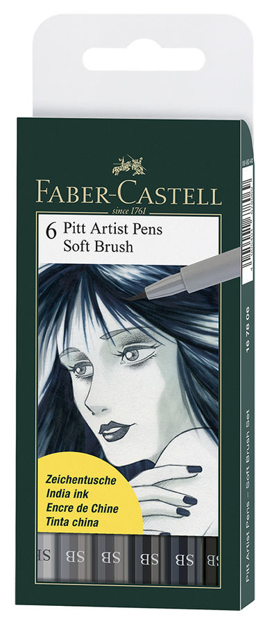 Набор ручек капиллярных Faber-Castell Pitt Artist Pen Soft Brush (167806) 6цв. пластик.упю