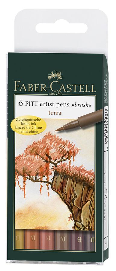 Набор ручек капиллярных Faber-Castell PITT ARTIST PEN (167106) 6цв. натуральные оттенки футляр