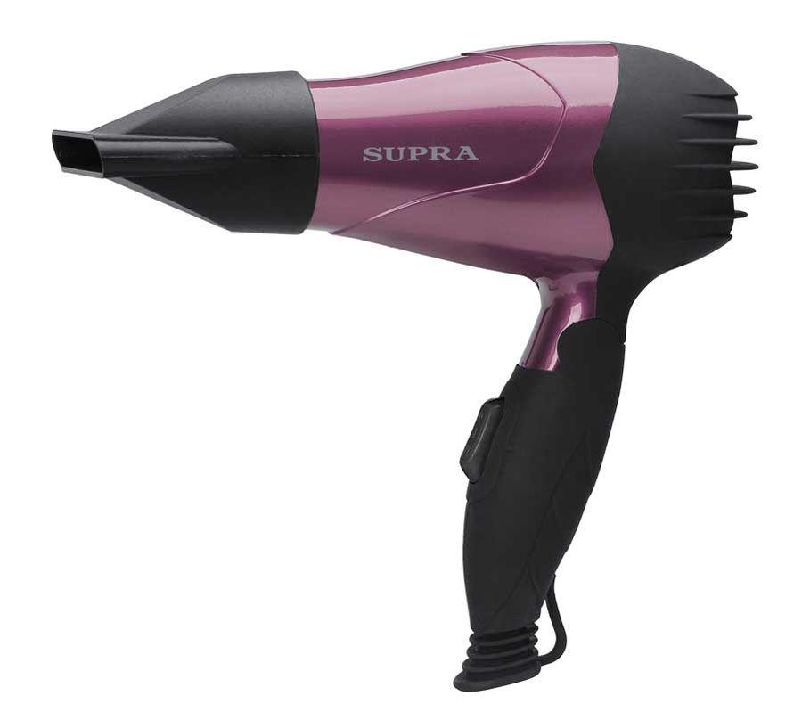 Фен SUPRA PHS-1001, дорожный, 1000Вт, черный и фиолетовый