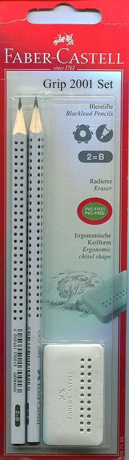 Набор карандашей чернографит. Faber-Castell Grip 2001 187199 (2 карандаша + ластик)