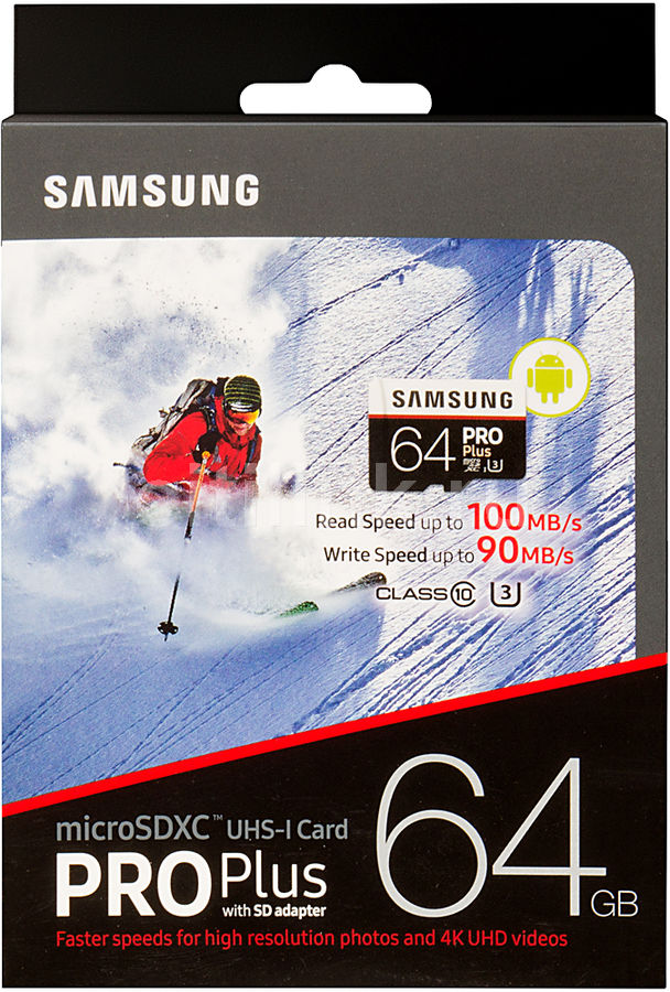 Карта памяти microSDXC UHS-I SAMSUNG Pro PLUS 2 64 ГБ, 100 МБ/с, Class 10, MB-MD64GA/RU,  1 шт., переходник SD