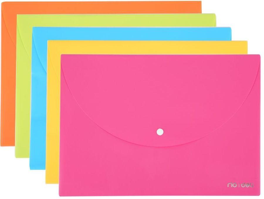 Конверт на кнопке Deli E38131 A4 гориз. расшир. полипропилен 0.18мм ассорти
