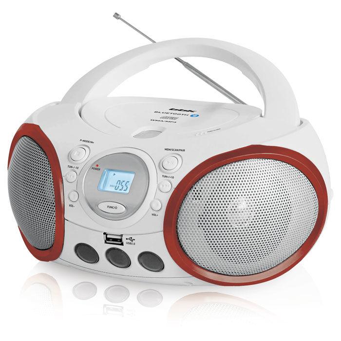 Аудиомагнитола BBK BX150BT,  белый и красный